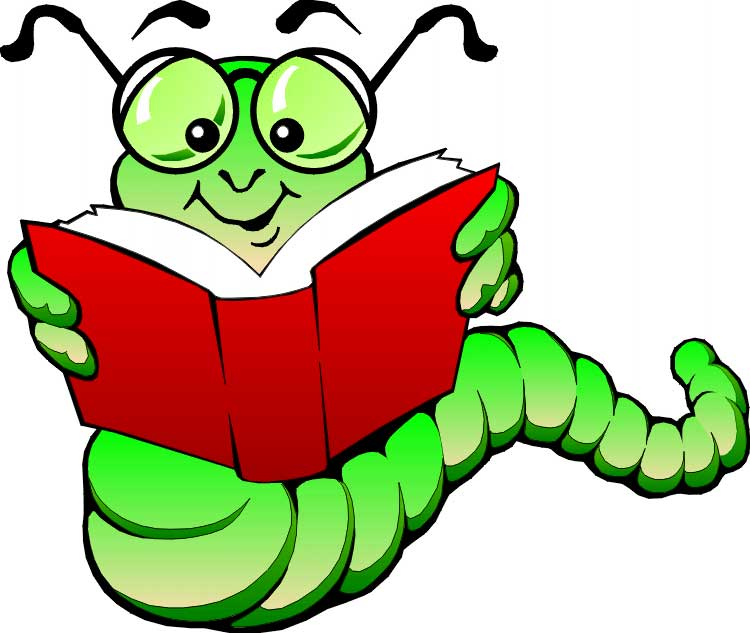 Image result for bookworm reading a book clipart